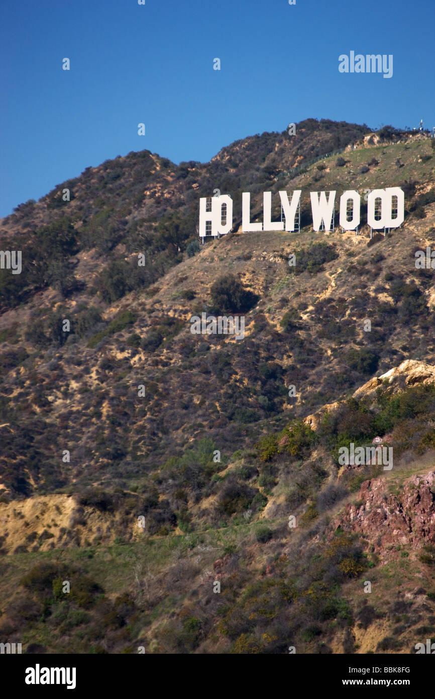 Das Hollywood-Schild aus Griffith Observatory Los Angeles Kalifornien Stockbild
