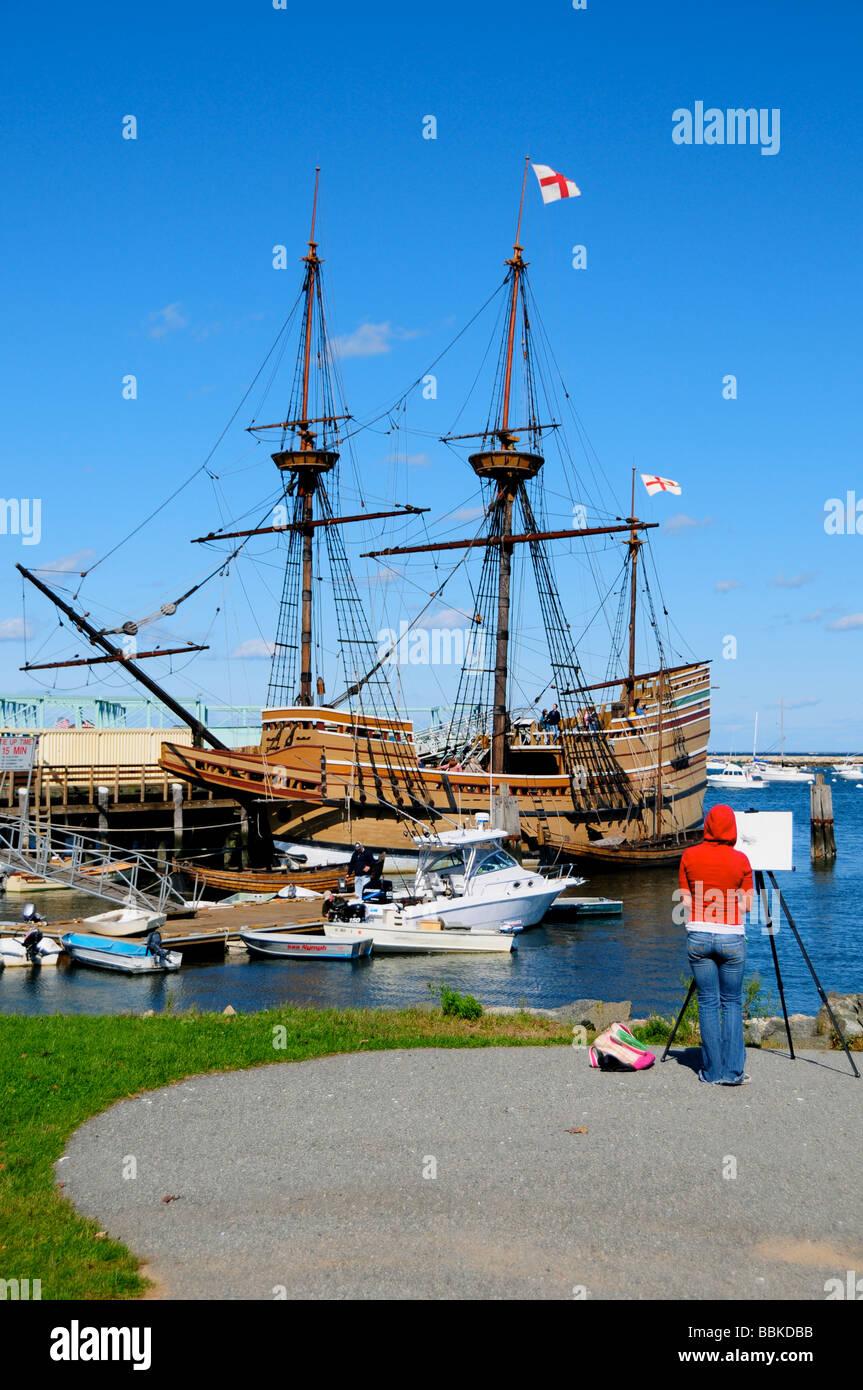 Die Mayflower II Schiff, Plymouth, Massachusetts, USA Stockbild
