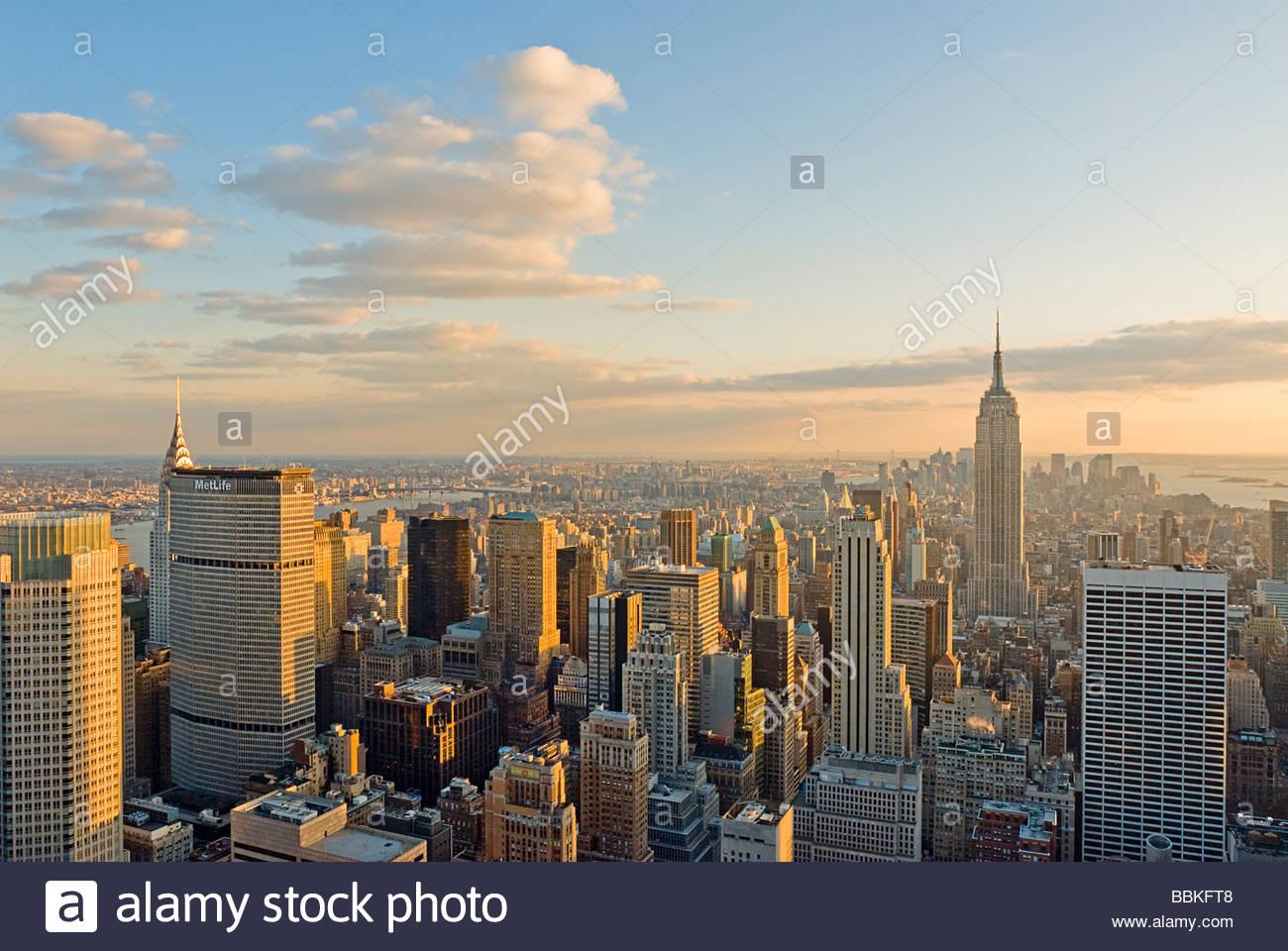 Blick auf Midtown Manhattan und Empire State Building, New York City. Stockbild