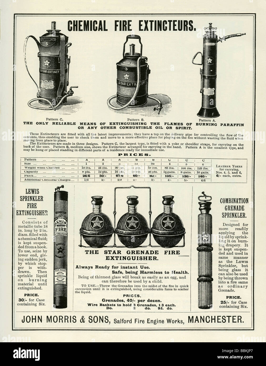 Werbung in einem viktorianischen Versandkatalog für Feuerlöscher (Extinteurs), John Morris & Söhne, Stockbild