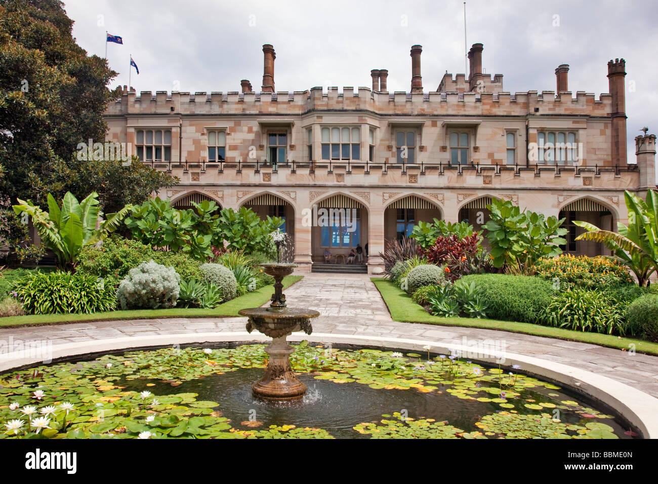 New South Wales in Australien. Regierung Haus von New South Wales befindet sich in den Royal Botanic Gardens. Stockbild