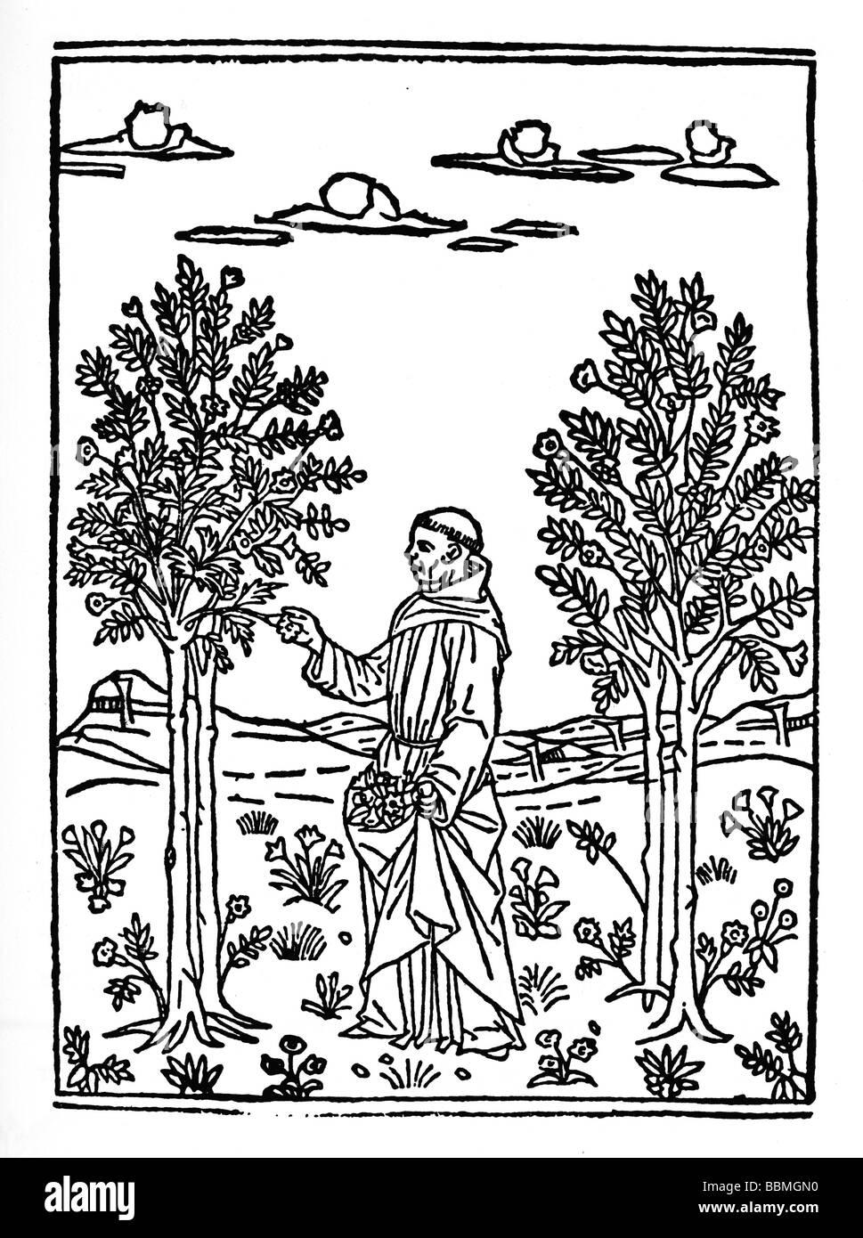 Mönch erntet Früchte, Holzschnitzereien aus dem Mittelalter Stockfoto