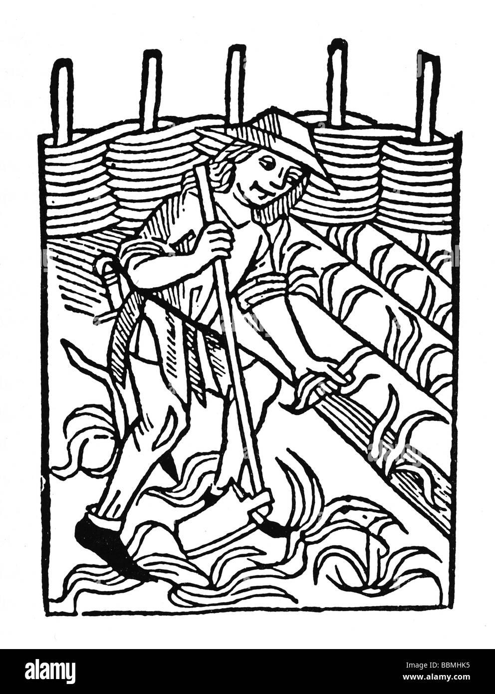Unkraut hacken, Holzschnitzerei aus dem Mittelalter Stockfoto