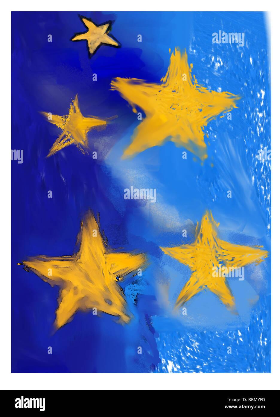 Abbildung von Sternen auf blauem Grund Stockbild