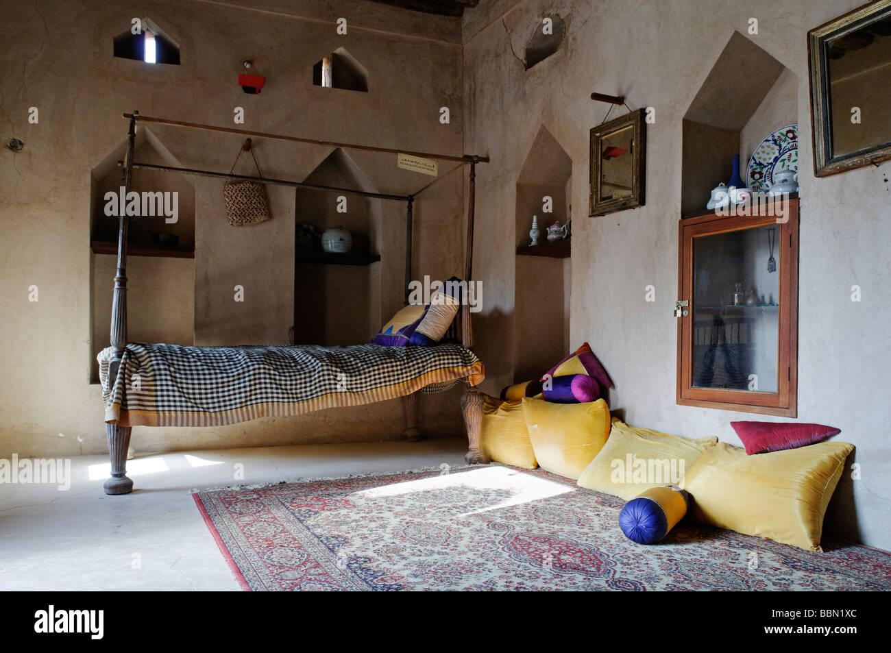 Traditionelle arabische Schlafzimmer, historischen Adobe Festung ...