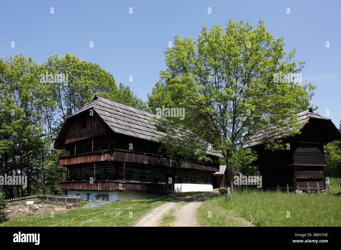 """Bauernhaus """"Kramer"""", 18. Jh., Kärntner Freilichtmuseum Kärntner Freilichtmuseum Maria Saal, Stockbild"""