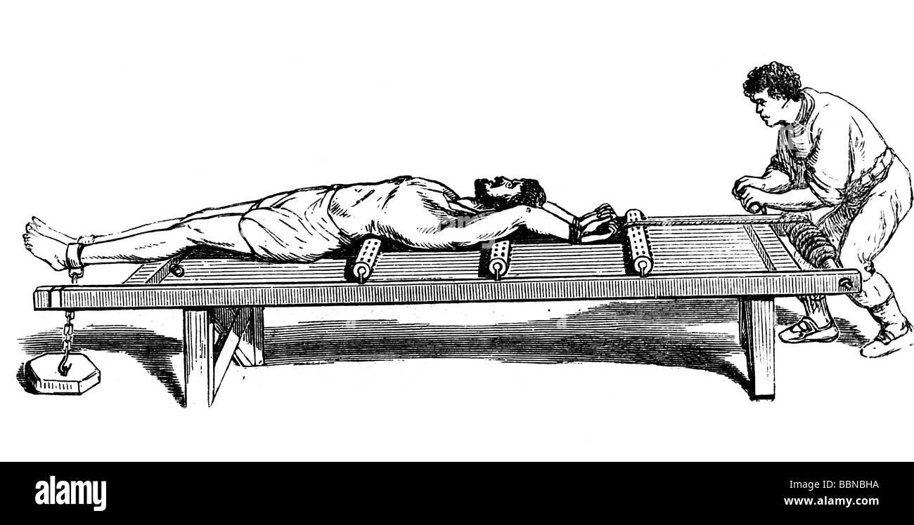 Justiz, Folter, Rack, Holzstich nach zeitgenössischen Abbildungen, Strafe, historischen, historische, Personen, Stockbild