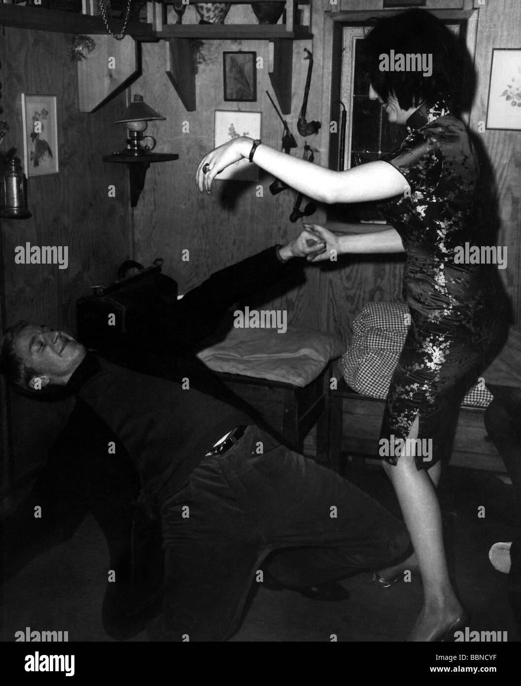 Tanz, Rock'n Roll, Tanzpaare, ca. 1959, 50er, 50er, Musik, Rock, Roll, historischen, historische, Personen, Stockbild
