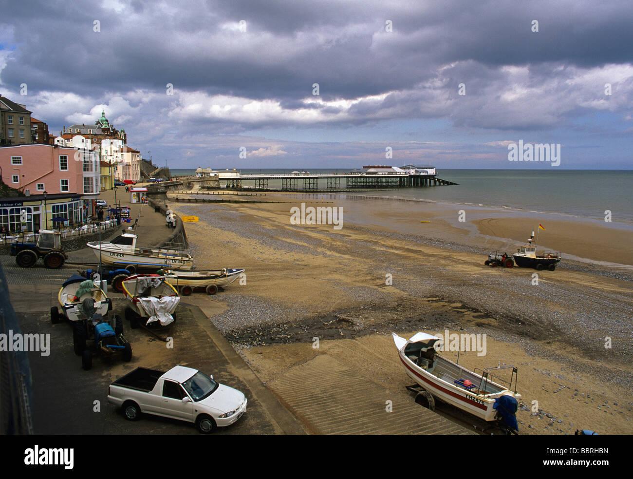 Cromer Strandpromenade Krabbe Boote Bereich Stockbild