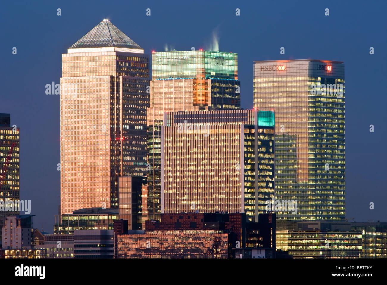 Bankgebäude in das Finanzzentrum Canary Wharf London England Großbritannien Stockbild