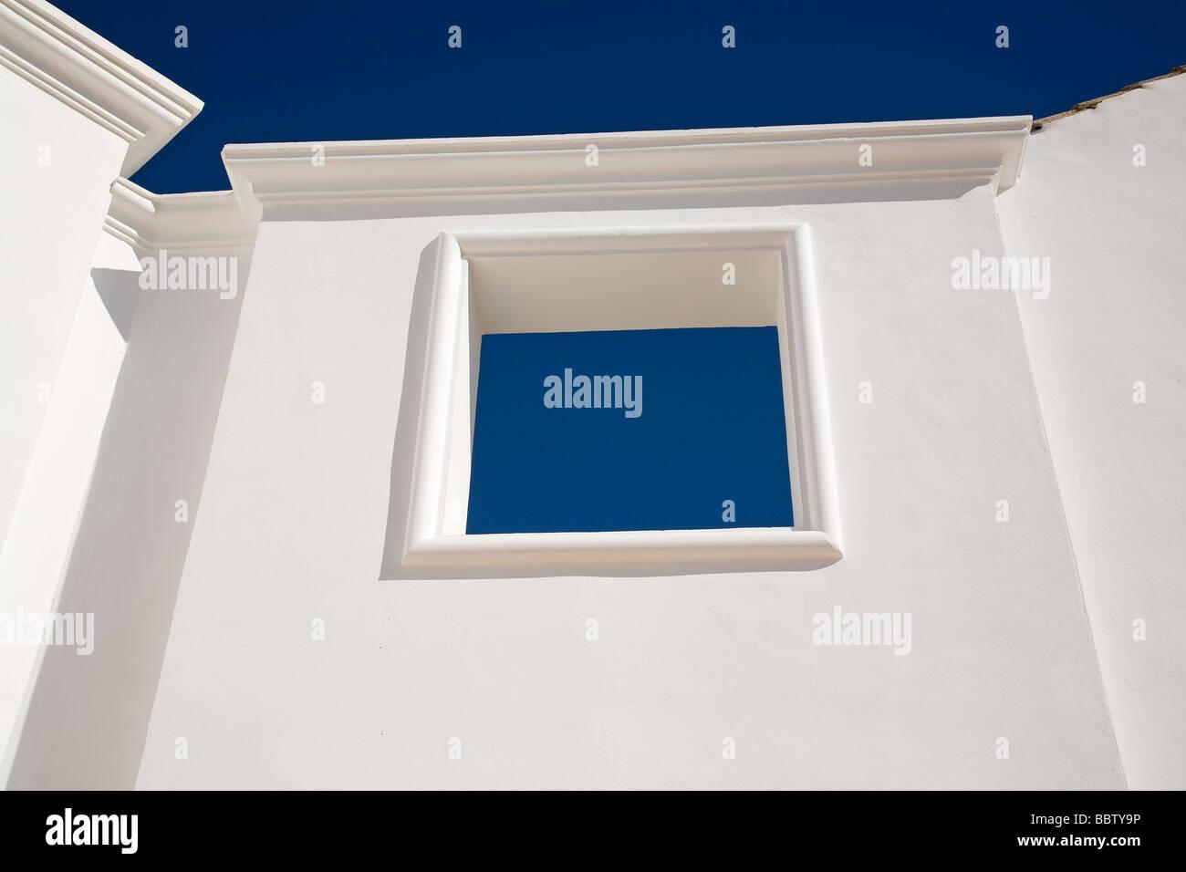 Arquitectura Paredes Blancas Cielo Azul Malaga Andalusien España Architektur weiße Wände Blau Himmel Stockbild