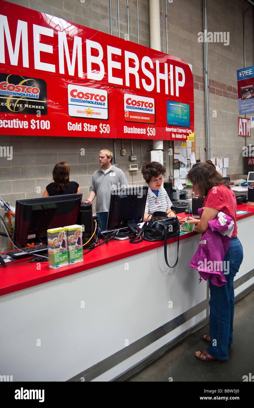 Mitgliedschaft-Zähler, Costco Lager, USA Stockfoto