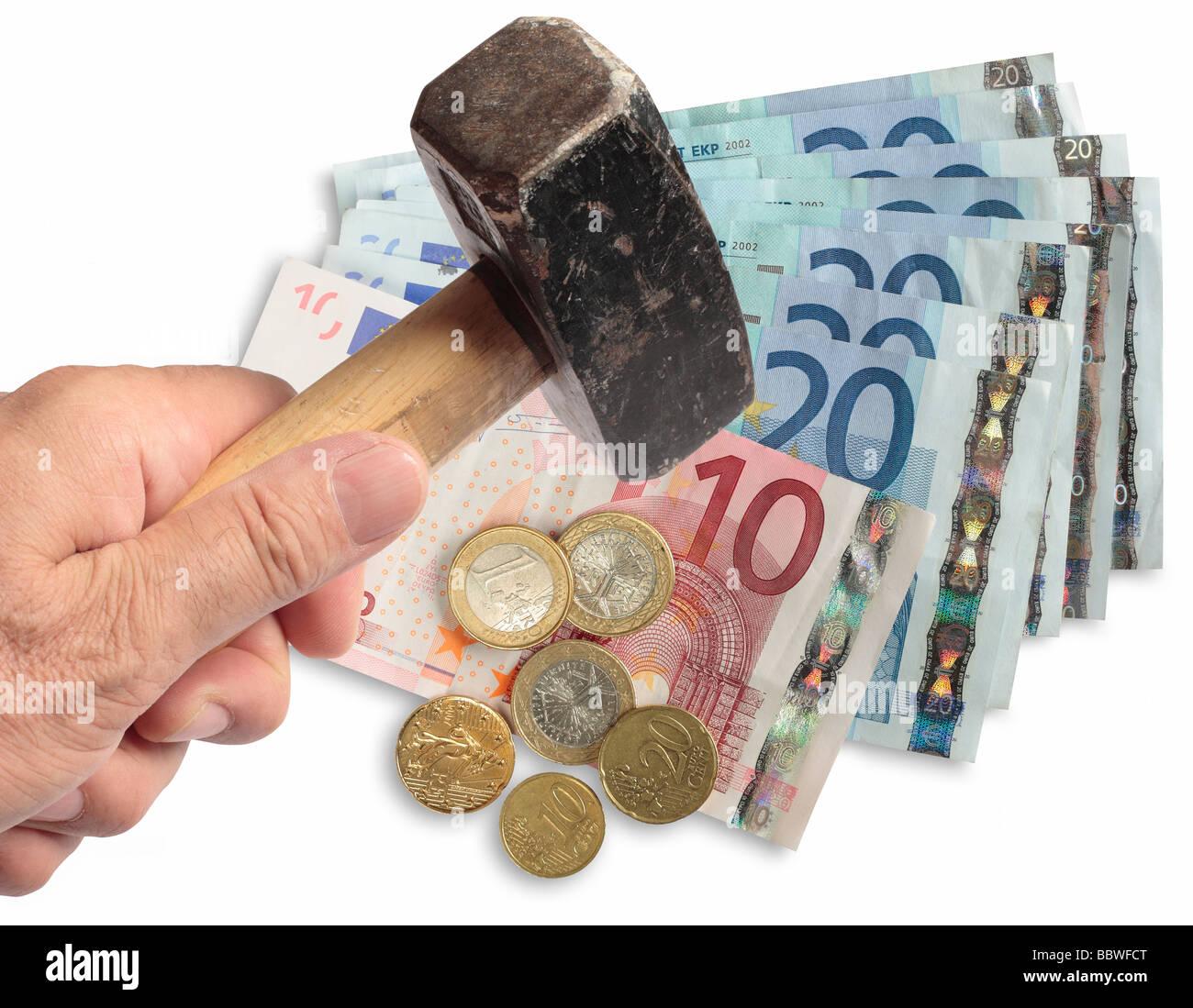 Euro an ausländischen Börsen gehämmert. Stockbild