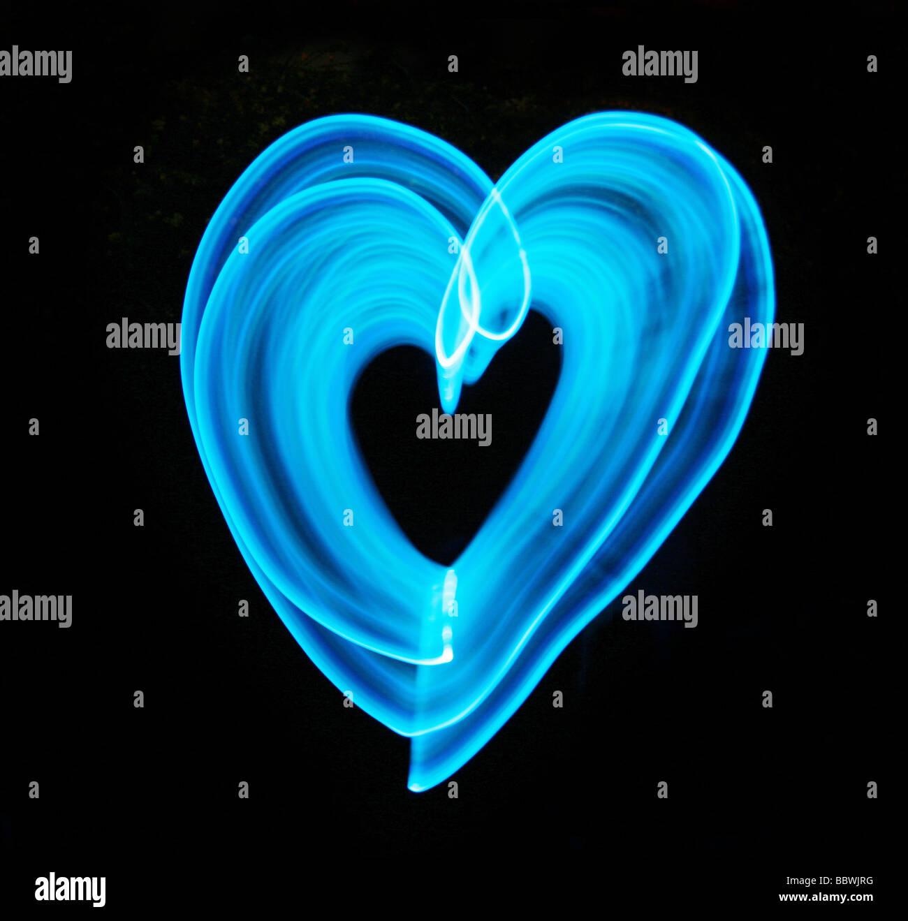 blaues Licht Herz Stockfoto