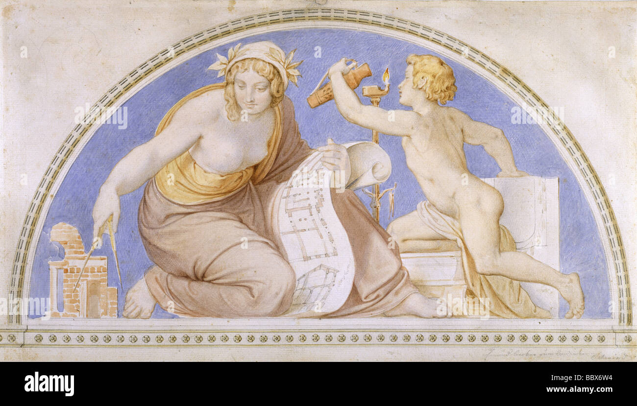 "ÜF, Kunst, Schwind, Moritz von (1804-1871), Gemälde, Lünette ""Mathematik"", Aquarell, um Stockbild"