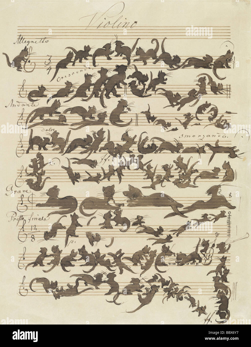 """ÜF, Kunst, Schwind, Moritz von (1804-1871), Grafik, """"Sterben Katzensymphonie"""" (""""Le Chat Noir""""), Stockbild"""