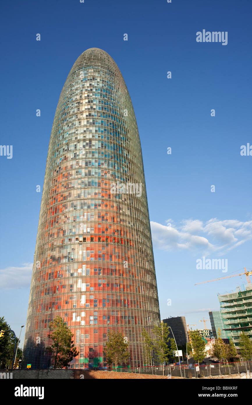 Der Torre Agbar, modernes Bürogebäude, Barcelona-Spanien Stockbild