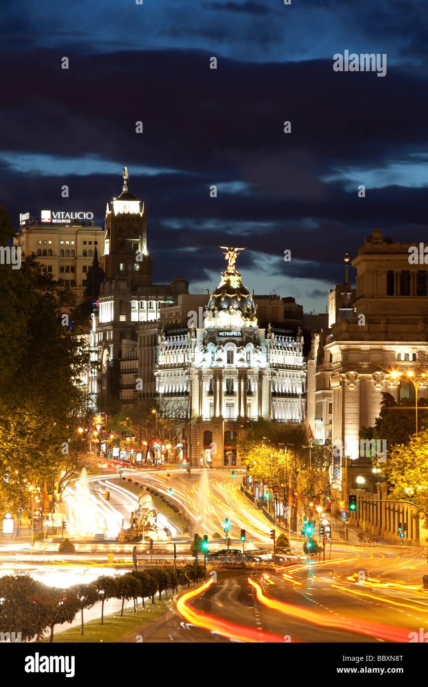 Blick über die Plaza de Cibeles in Richtung Gran Via Madrid Spanien Stockbild