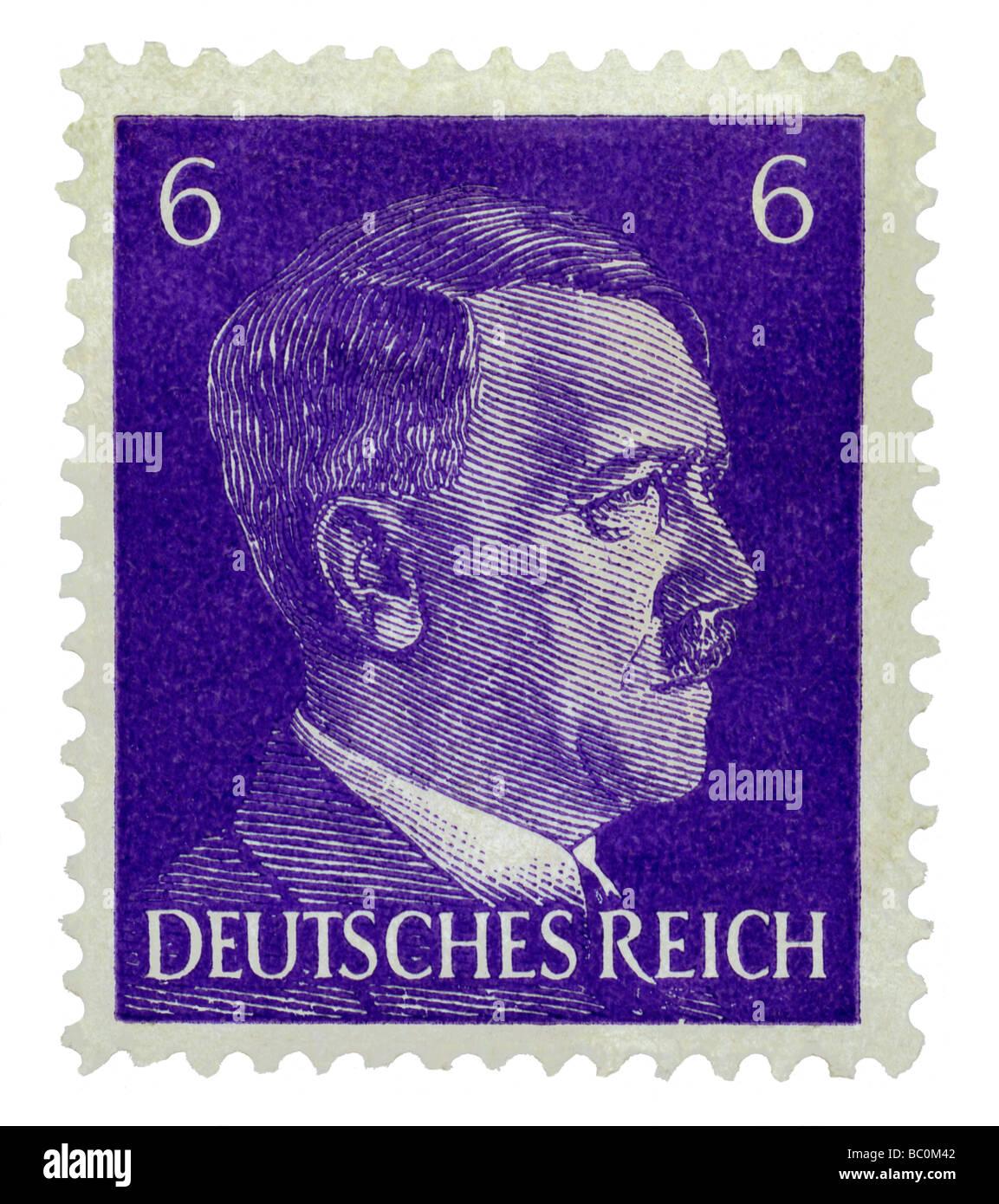 Alte Deutsche Briefmarke Mit Dem Porträt Von Adolf Hitler Stockfoto