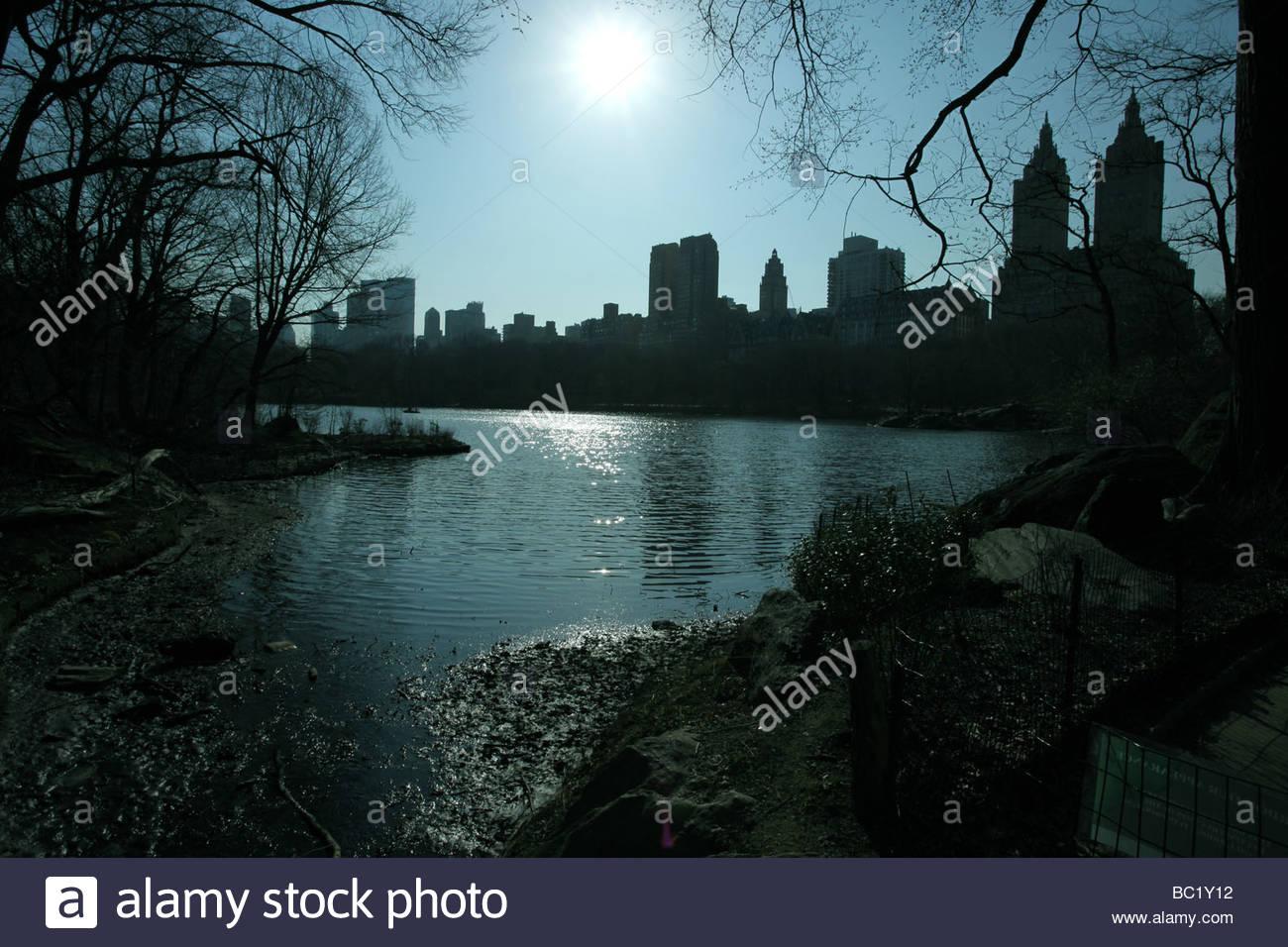 NYC-See im park Stockbild