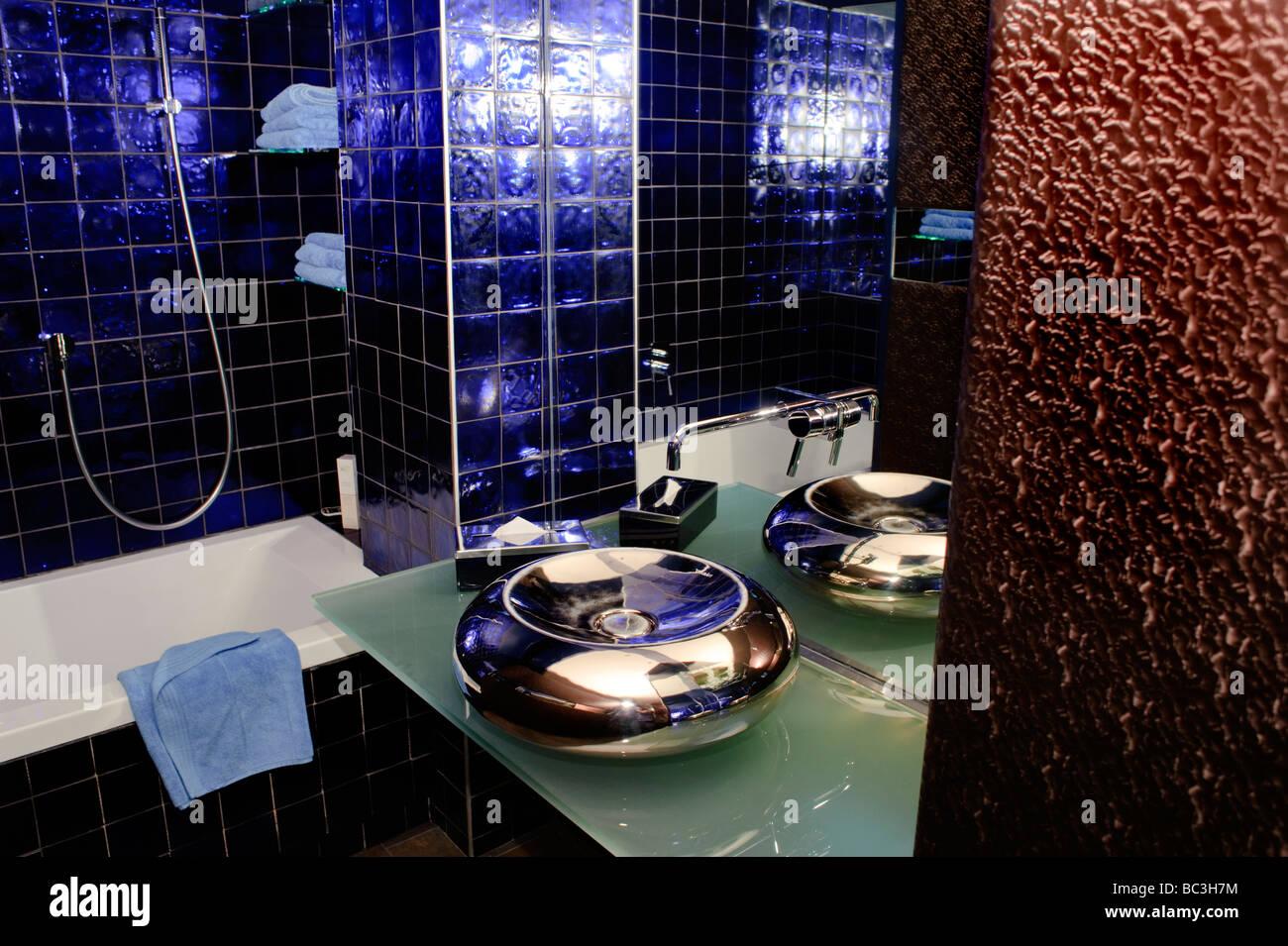 """Paris Frankreich, Interieur Interieur zeitgenössische Architektur Haushalt"""" Boutique Hotel Badezimmer Stockbild"""