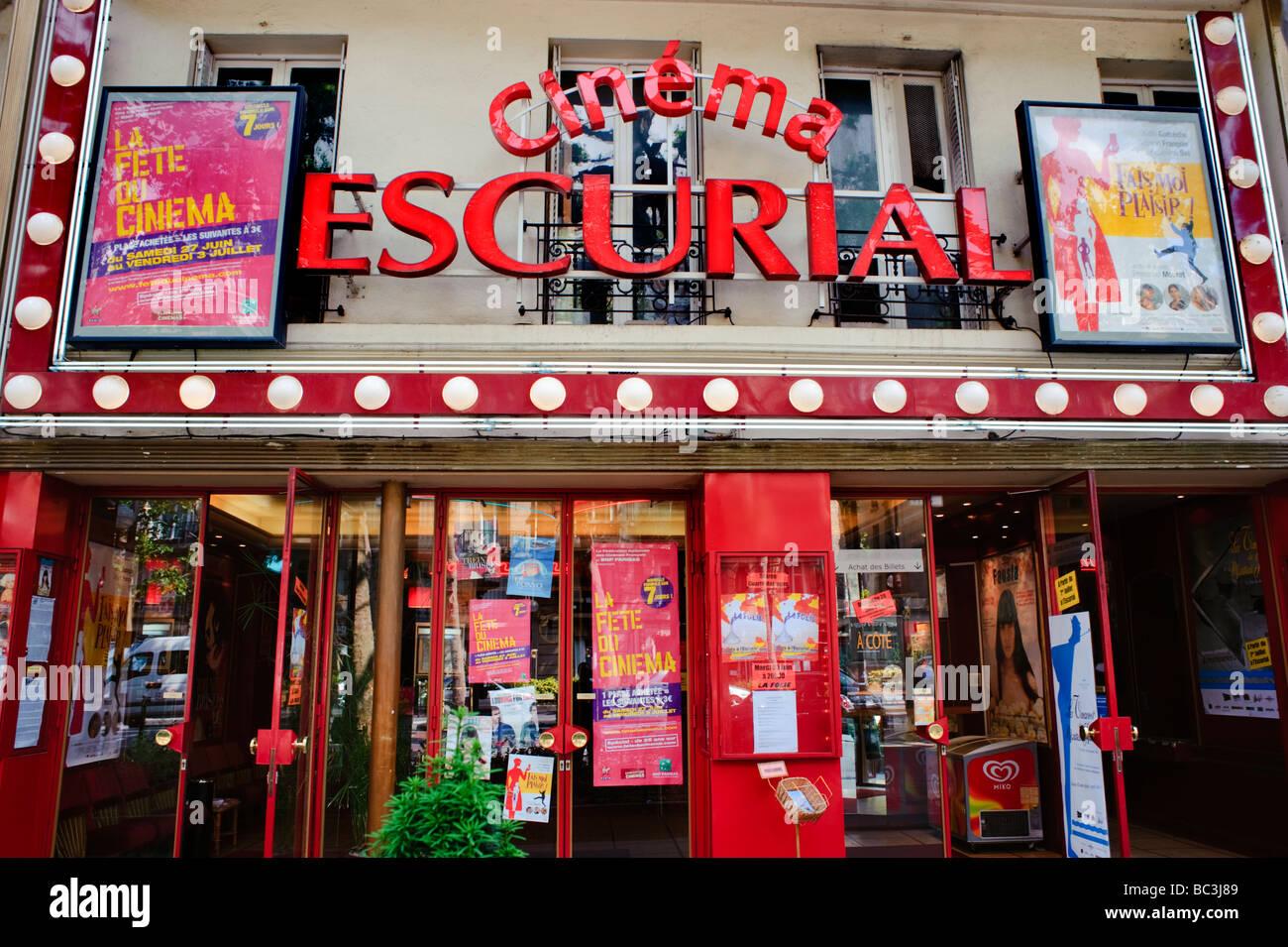 Paris Frankreich, Kinos, Schaufenster unabhängige 'Kino' Escurial, Eingang Zeichen Stockbild