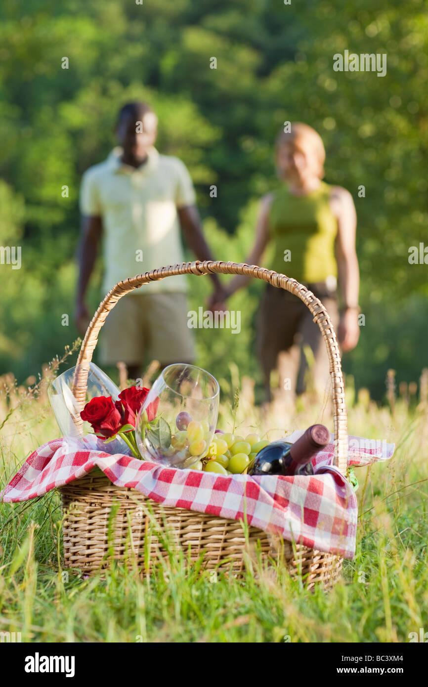 Porträt des jungen multiethnischen paar Hand in Hand und Picknick im park Stockbild