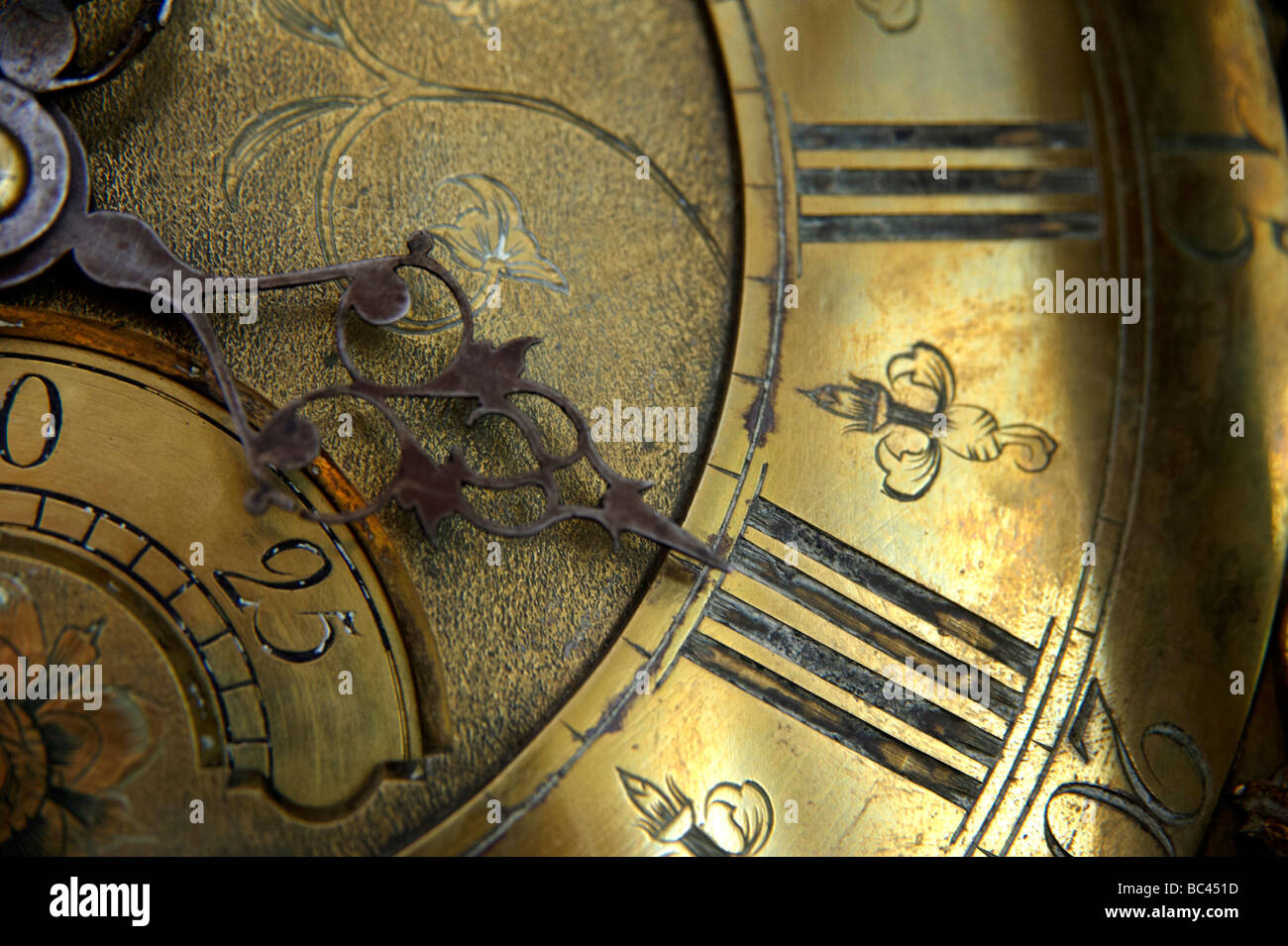 Antike Standuhr Gesicht, UK Stockbild