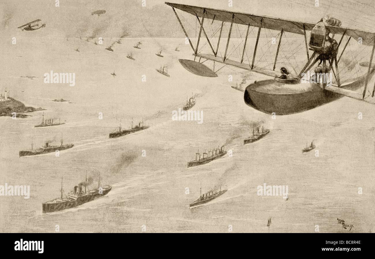Ein Konvoi von Handelsschiffen, eskortiert von Zerstörer, Wasserflugzeuge und ein Luftschiff. Stockbild