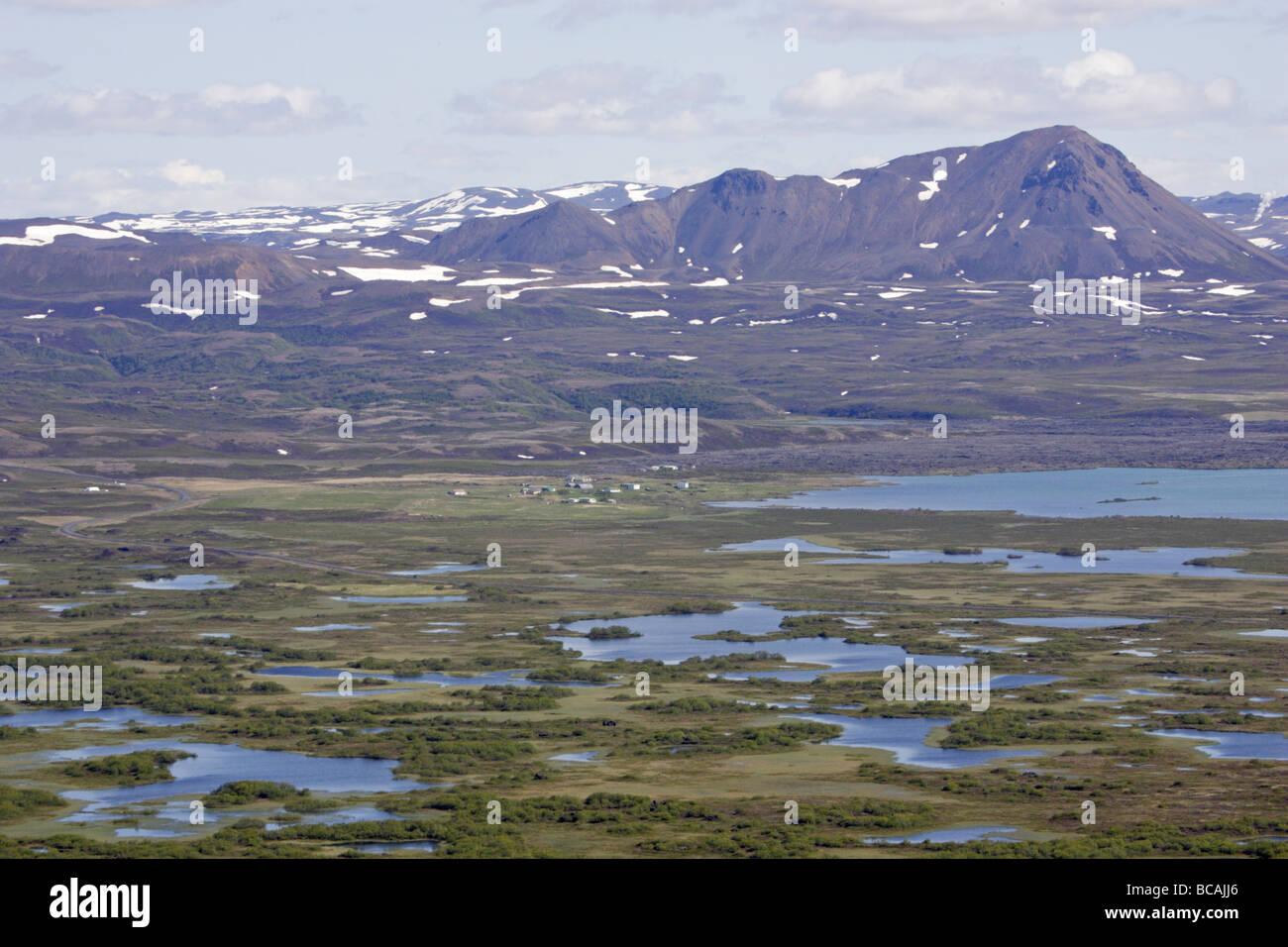 Blick vom Vingbelgar-Fjall über See Myvatn Stockbild