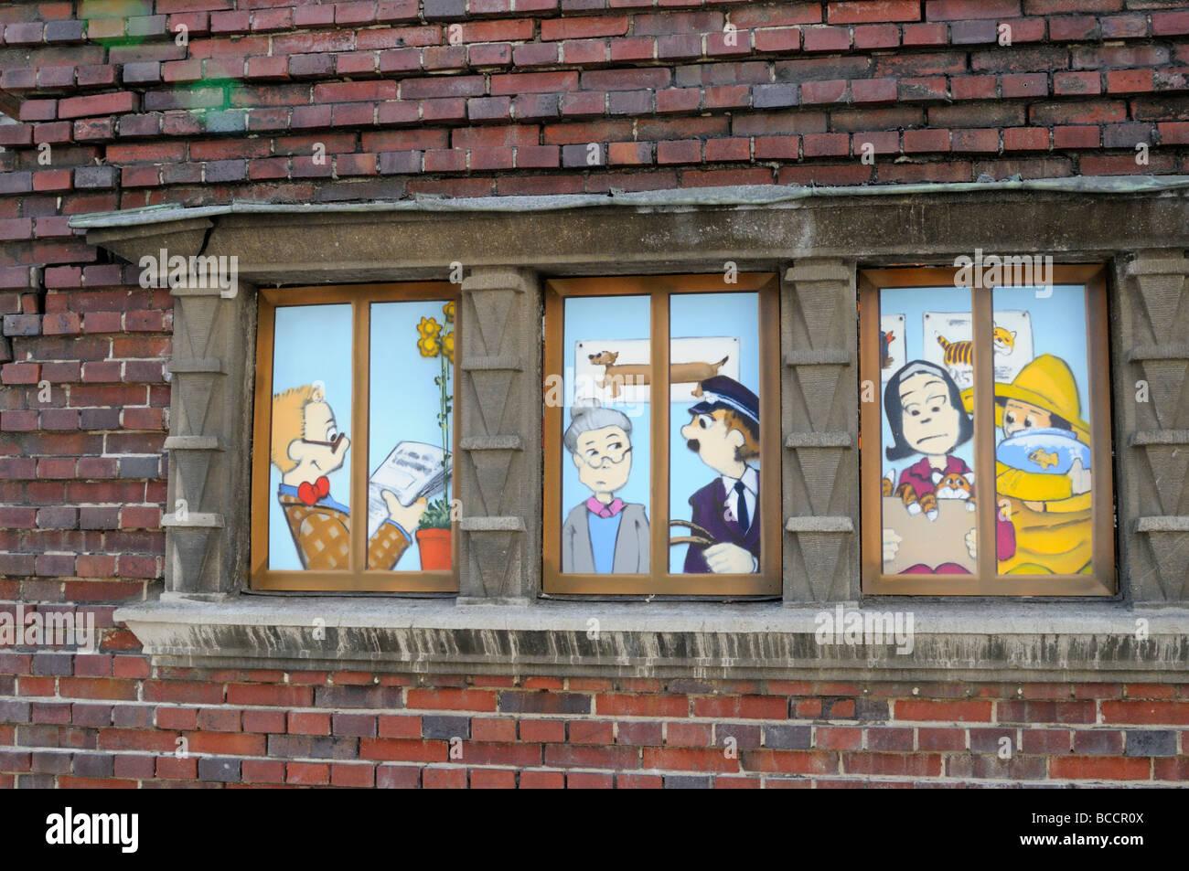 Bildgeschichte-gesehen...gabs in Schwerin Deutschland Comic-Strip gesehen in Schwerin-Deutschland Stockbild