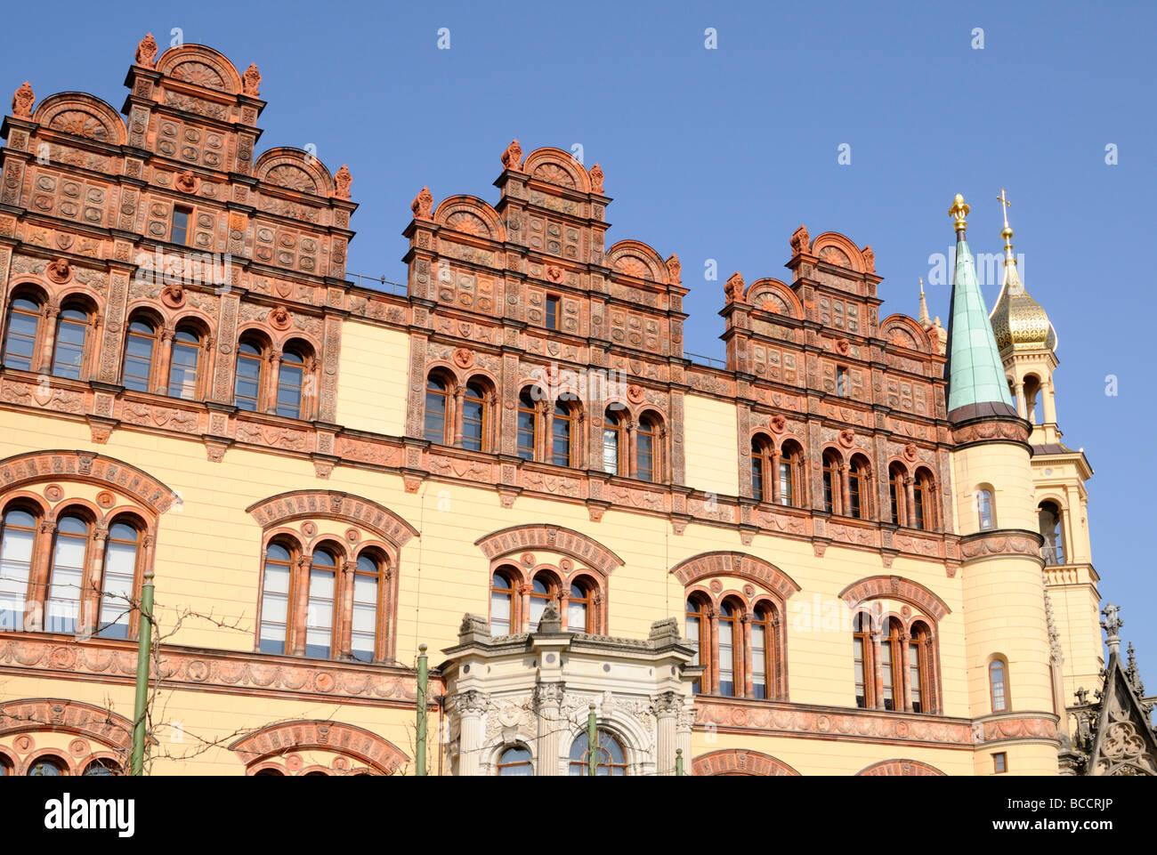 Schweriner Schloss Mecklenburg Vorpommern Deutschland Schloss Schwerin Mecklenburg Vorpommern Deutschland Stockbild