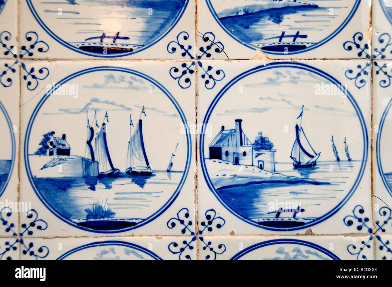 Fliesenmuseum Fliesen Delfter Blau Porzellan Amsterdam Niederlande 17. / 18. Jahrhundert Stockbild