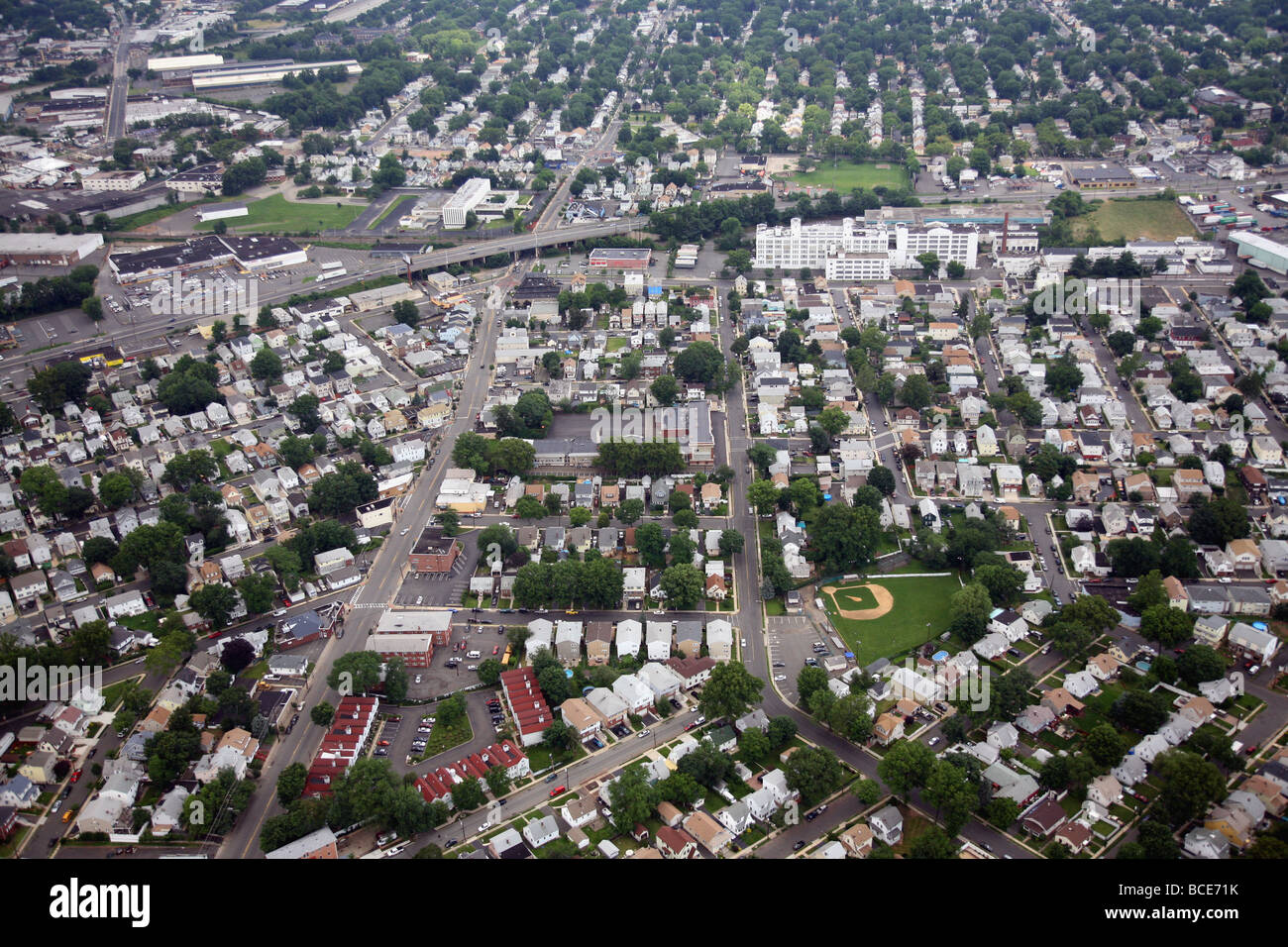 Luftbild des Hang, Union County NJ USA, Amerika, Vereinigte Staaten von Amerika Liberty Ave Autobahn RT. 22, Bristol Stockbild