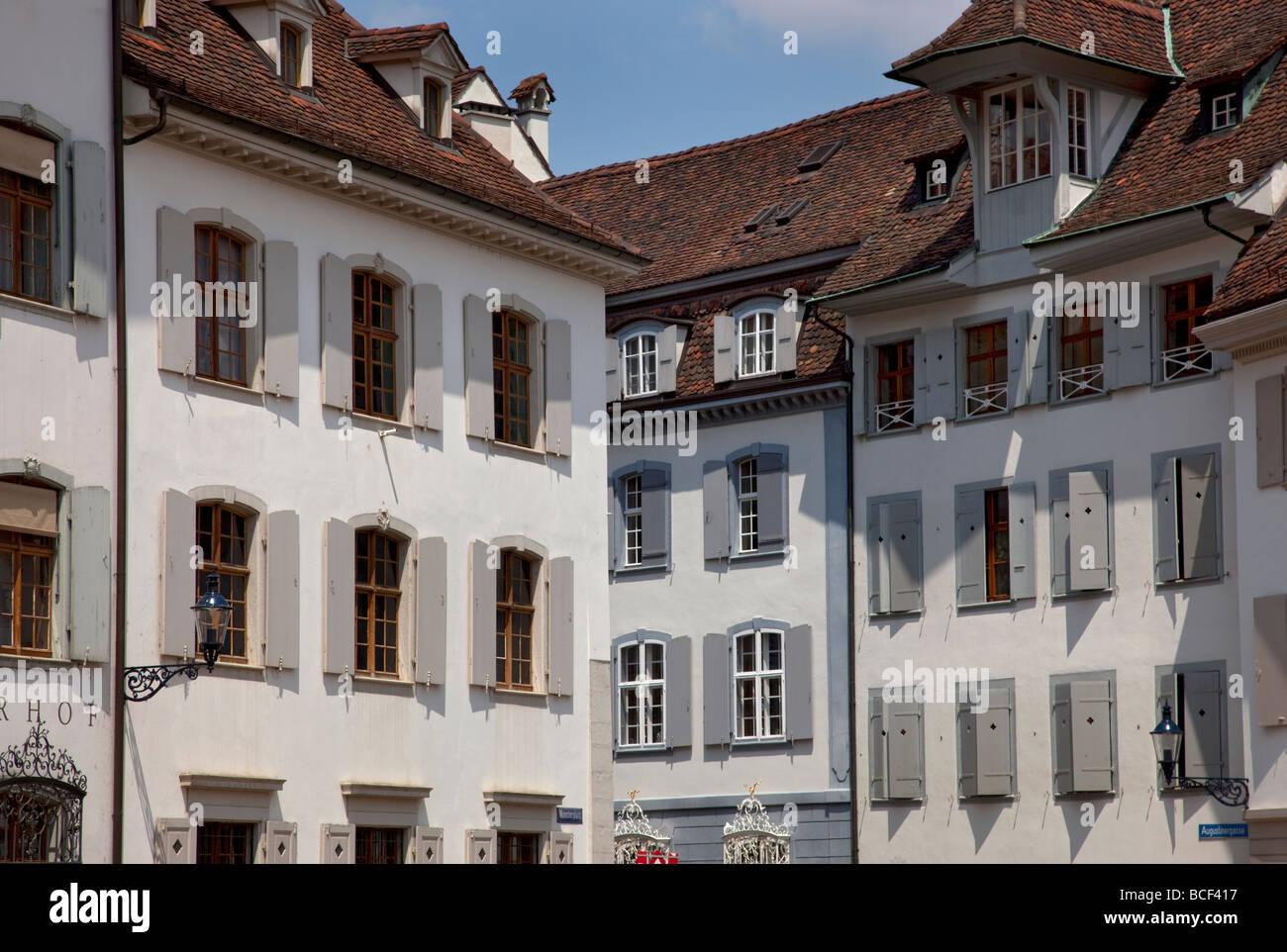 Architektur im alten historischen Teil der Stadt, Augustinerg, Basel, Schweiz, Europa. Stockbild