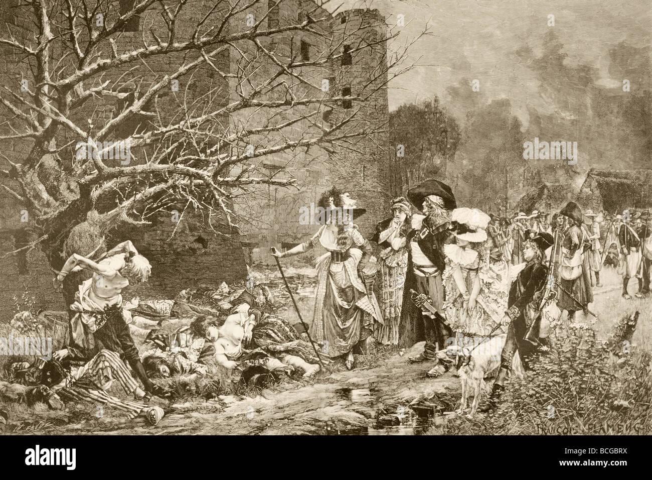 Das Massaker von Machecoul, Frankreich während der französischen Revolution. Stockbild