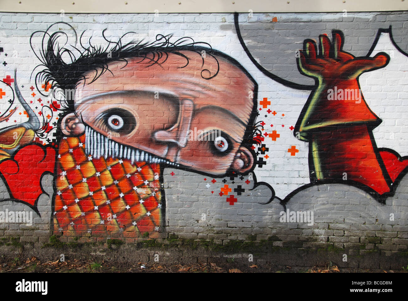 Graffiti, bedeckt, Wand Stockbild