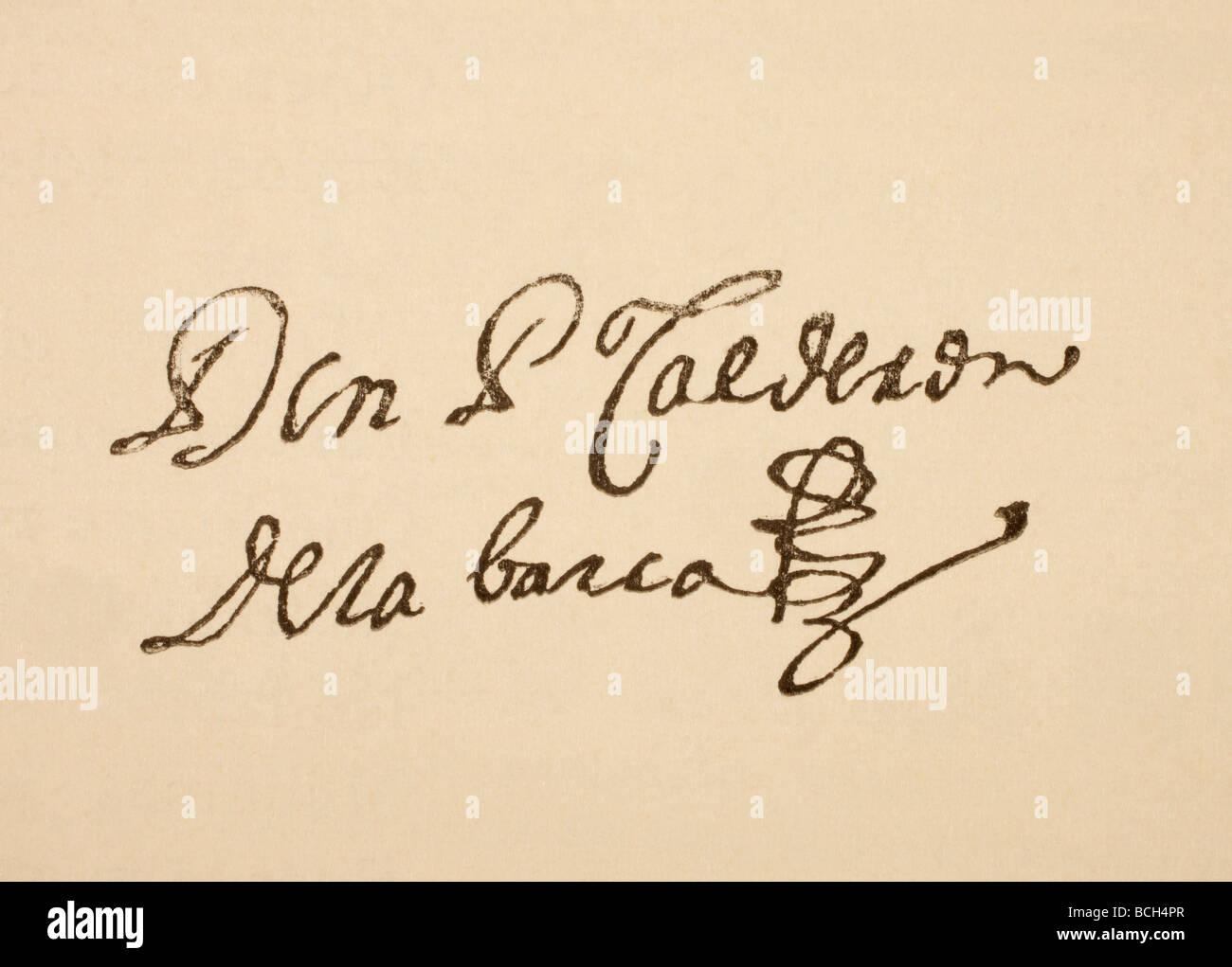 Unterschrift des spanischen Dramatiker Pedro Calderón De La Barca 1600 starb 1681 geboren. Stockbild