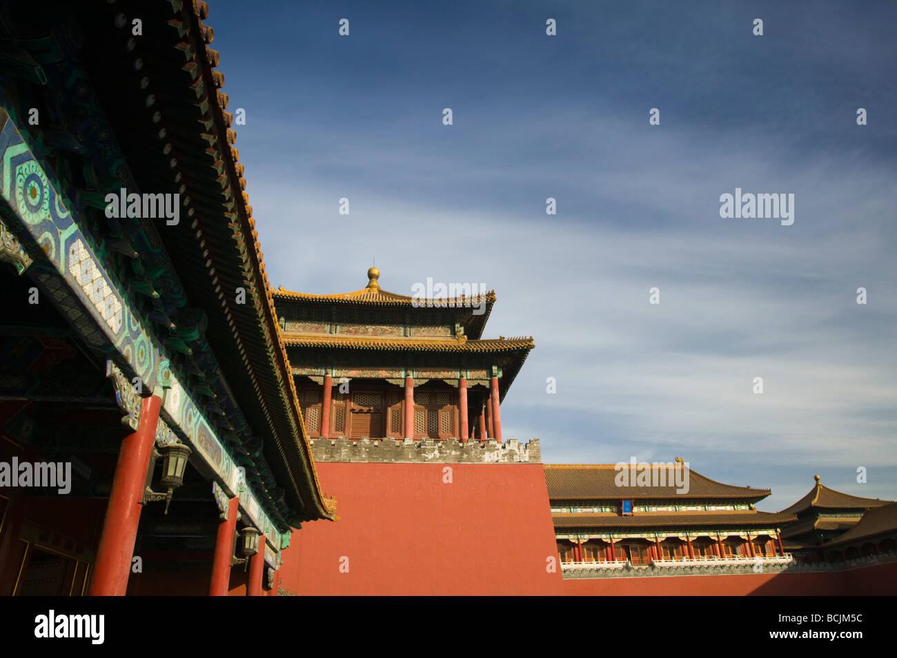 China, Peking, Verbotene Stadt, Meridian-Tor Stockbild