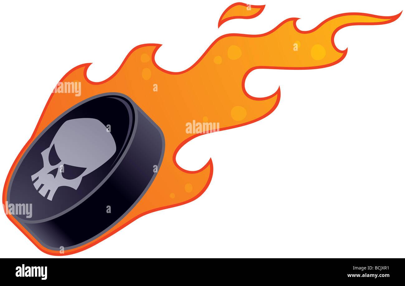 Vektor-Zeichenprogramm von einem flammenden Hockey-Puck mit ...