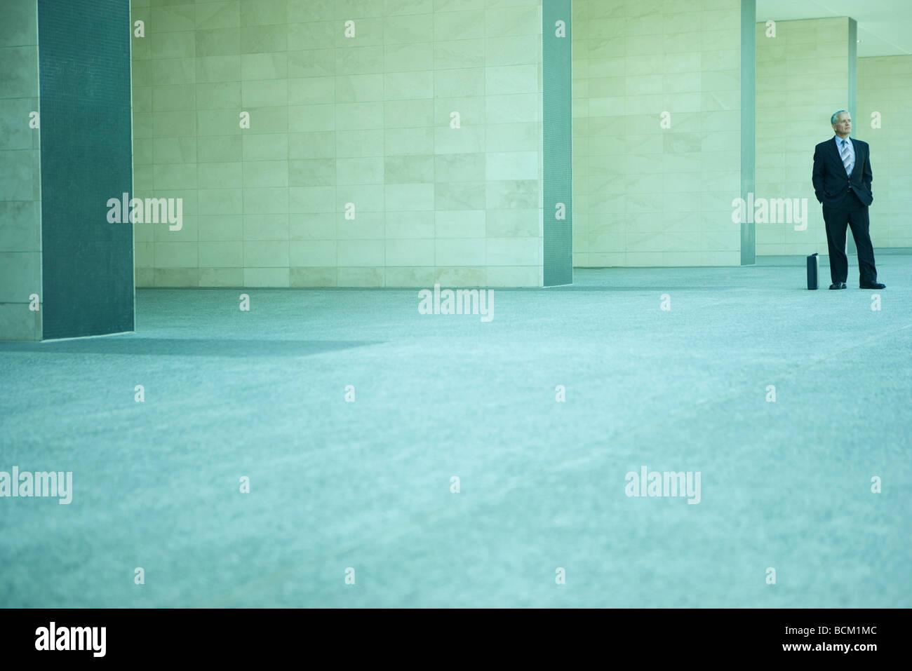 Geschäftsmann, stehen neben Aktentasche mit Händen in den Taschen, in mittlerer Distanz in vollen Länge Stockbild