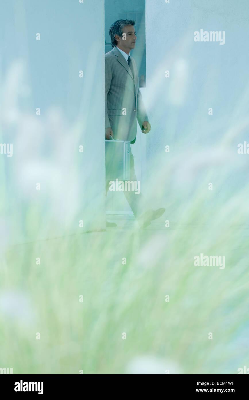 Buisnessman zu Fuß durch die Tür, mit Aktentasche, unscharf Pflanzen im Vordergrund Stockbild