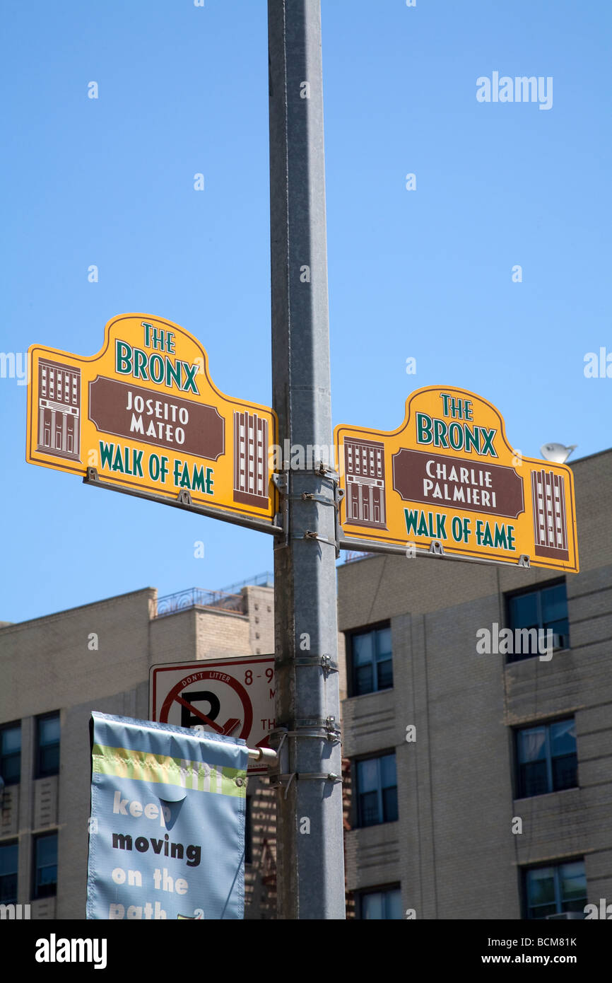 Bronx Walk of Fame, 161st Street und der Grand Concourse, Bronx, New York City, USA Stockbild