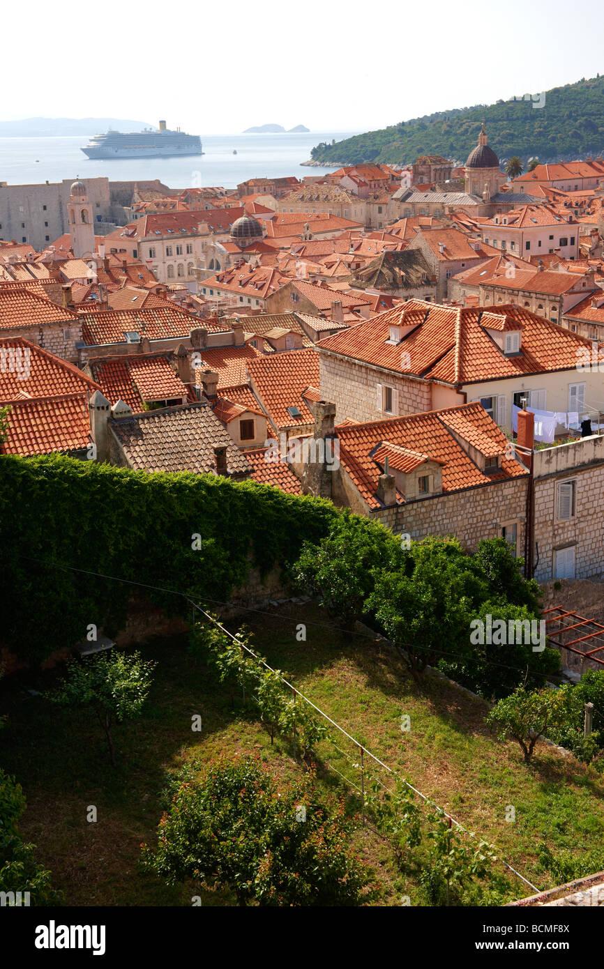 Dach, Blick auf Dubrovnik Stockbild