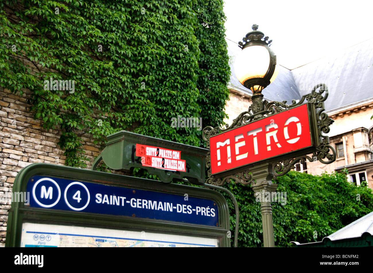 Metrostation Saint Germain Des Pres Paris Frankreich Zeichen Stockfotografie Alamy