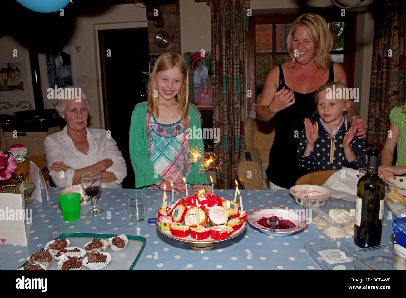 Birthday Party Nine Year Old Stockfotos Birthday Party Nine Year