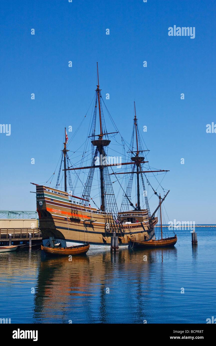 Mayflower II Nachbau des Schiffes, die Pilger in die neue Welt, aufgenommen in Plymouth Massachusetts USA durchgeführt Stockbild