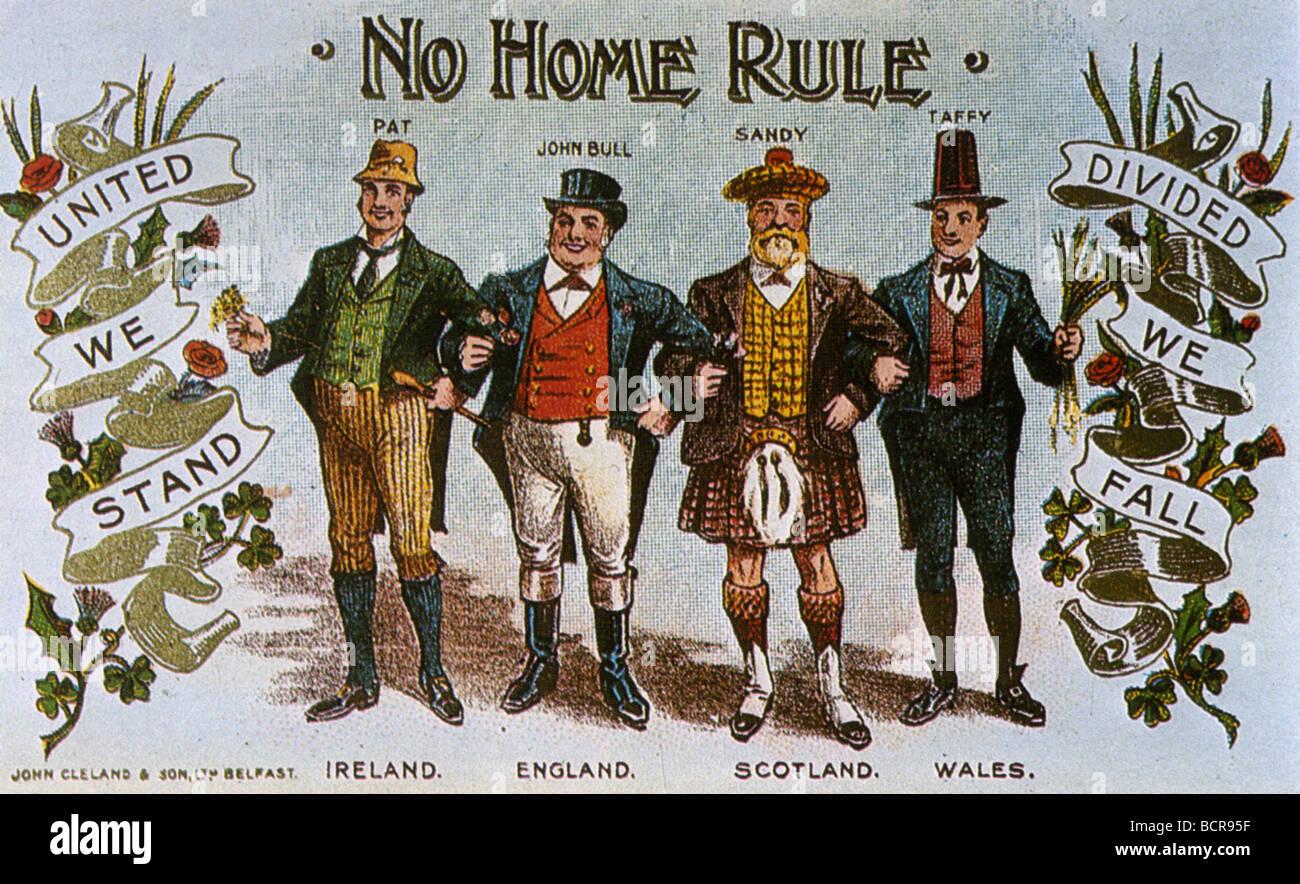 KEIN HOME Regel für Irland-Postkarte von 1911 Stockbild