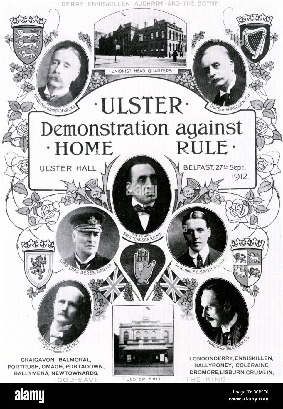 ULSTER UNION Plakat Ablehnung der dritte Selbstverwaltung-Rechnung von 1912 Stockbild