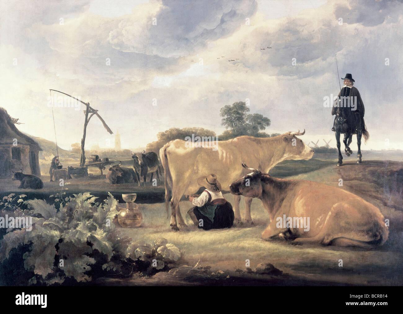 Landschaft mit Vieh und Milchmädchen von Aelbert Cuyp, 1620-1691 Stockbild